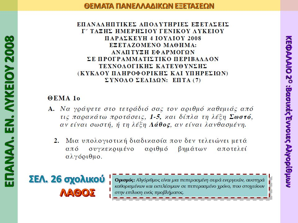 ΕΠΑΝΑΛ. ΕΝ. ΛΥΚΕΙΟΥ 2008 ΘΕΜΑΤΑ ΠΑΝΕΛΛΑΔΙΚΩΝ ΕΞΕΤΑΣΕΩΝ ΚΕΦΑΛΑΙΟ 2 Ο :Βασικές Έννοιες Αλγορίθμων