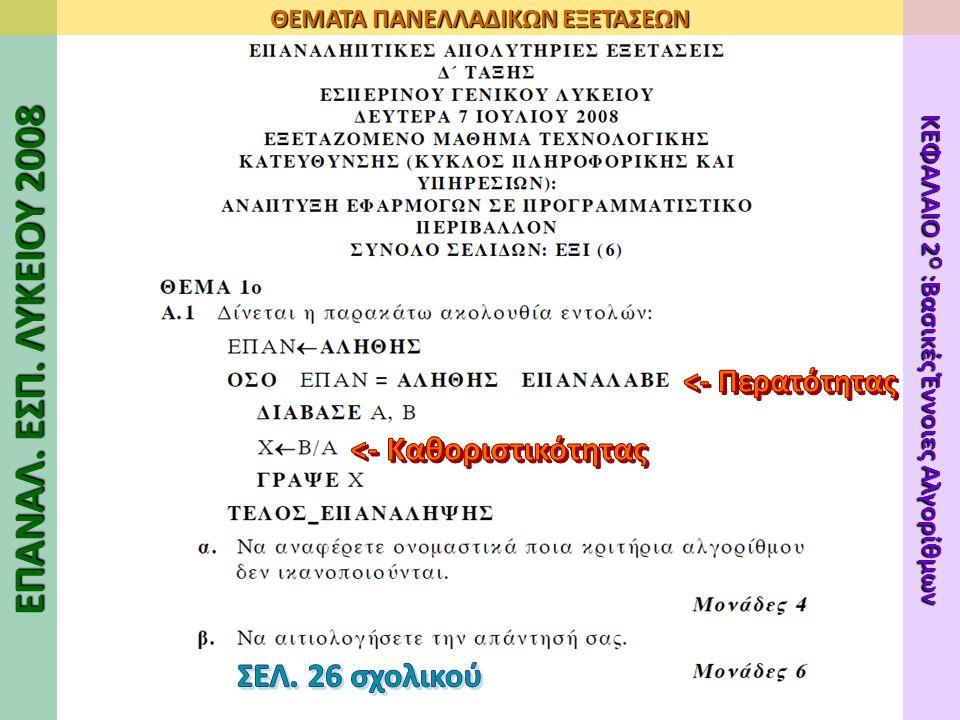 ΕΠΑΝΑΛ. ΕΣΠ. ΛΥΚΕΙΟΥ 2008 ΘΕΜΑΤΑ ΠΑΝΕΛΛΑΔΙΚΩΝ ΕΞΕΤΑΣΕΩΝ ΚΕΦΑΛΑΙΟ 2 Ο :Βασικές Έννοιες Αλγορίθμων