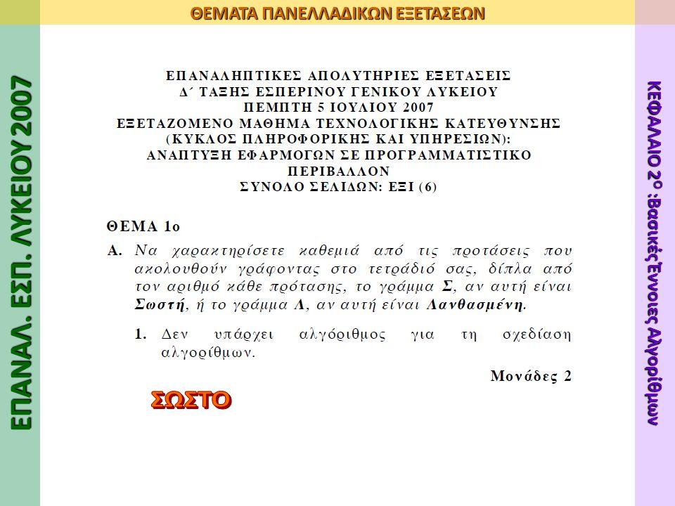 ΕΠΑΝΑΛ. ΕΣΠ. ΛΥΚΕΙΟΥ 2007 ΘΕΜΑΤΑ ΠΑΝΕΛΛΑΔΙΚΩΝ ΕΞΕΤΑΣΕΩΝ ΚΕΦΑΛΑΙΟ 2 Ο :Βασικές Έννοιες Αλγορίθμων