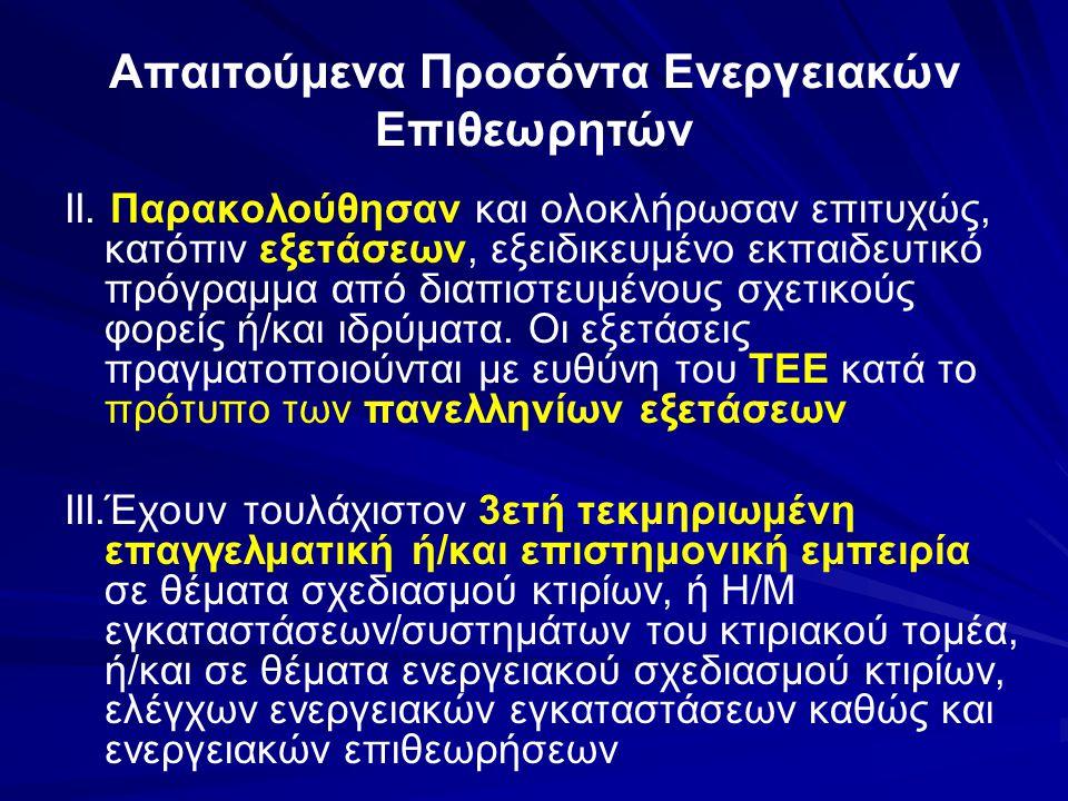 Απαιτούμενα Προσόντα Ενεργειακών Επιθεωρητών ΙΙ.