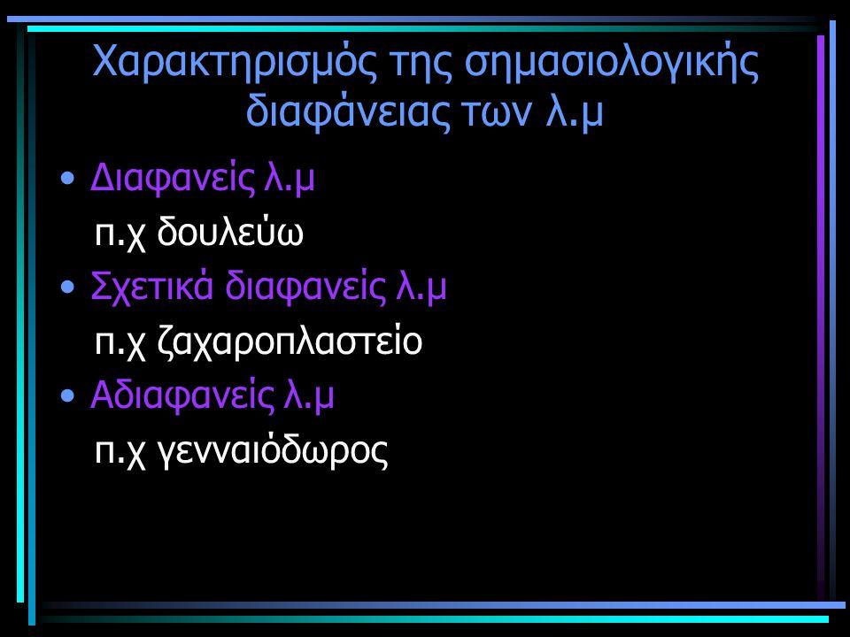 Σημασιολογική διαφάνεια των λ.μ ΒΑΘΜΟΣ ΣΗΜΑΣ.