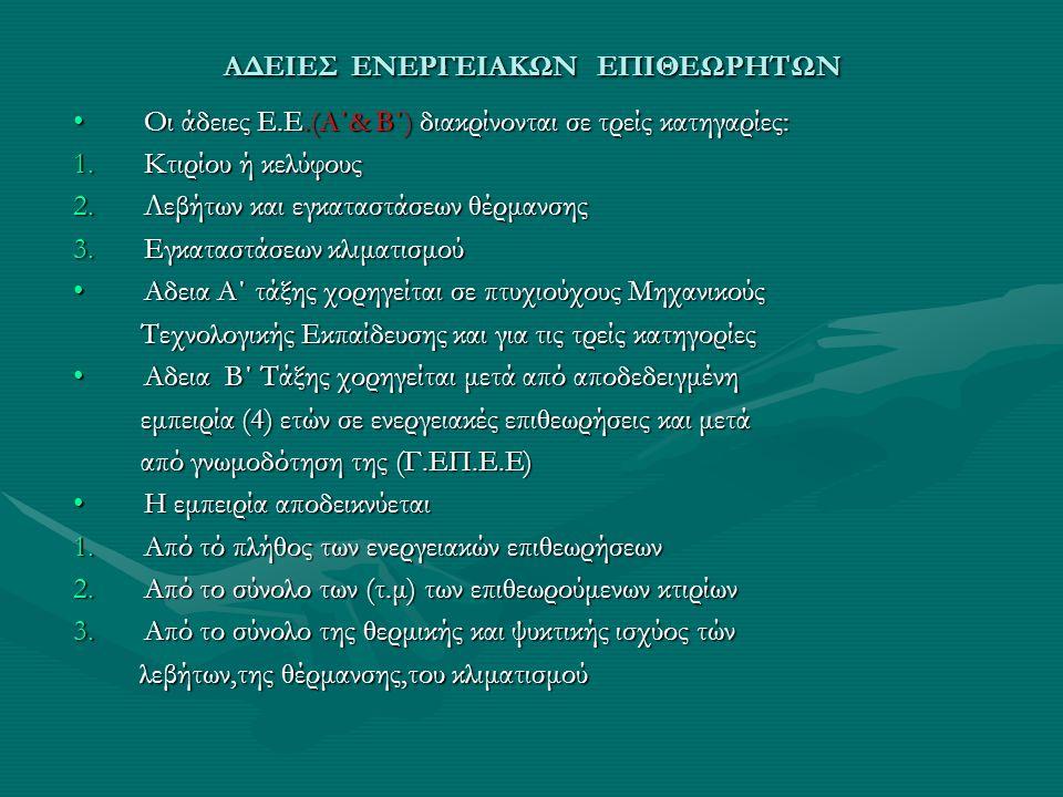 ΑΔΕΙΕΣ ΕΝΕΡΓΕΙΑΚΩΝ ΕΠΙΘΕΩΡΗΤΩΝ Οι άδειες Ε.Ε.(Α΄& Β΄) διακρίνονται σε τρείς κατηγαρίες:Οι άδειες Ε.Ε.(Α΄& Β΄) διακρίνονται σε τρείς κατηγαρίες: 1.Κτιρ