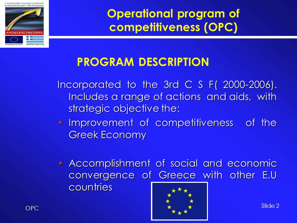 Operational program of competitiveness (OPC) OPC Slide 2 Incorporated to the 3rd C S F( 2000-2006). Includes a range of actions and aids, with strateg