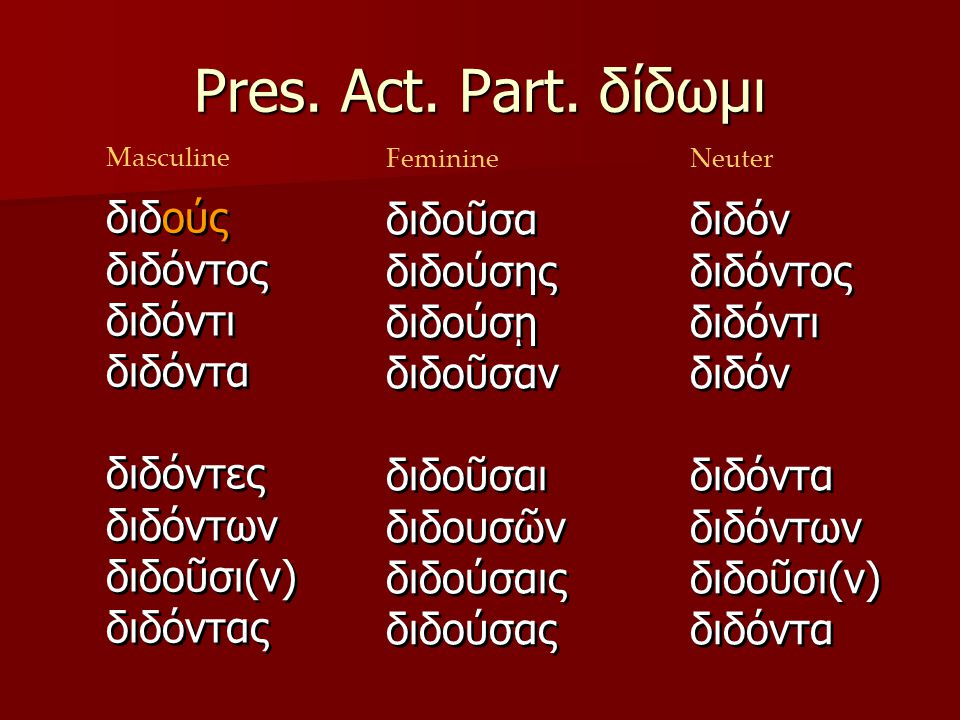 Pres.Act. Part.
