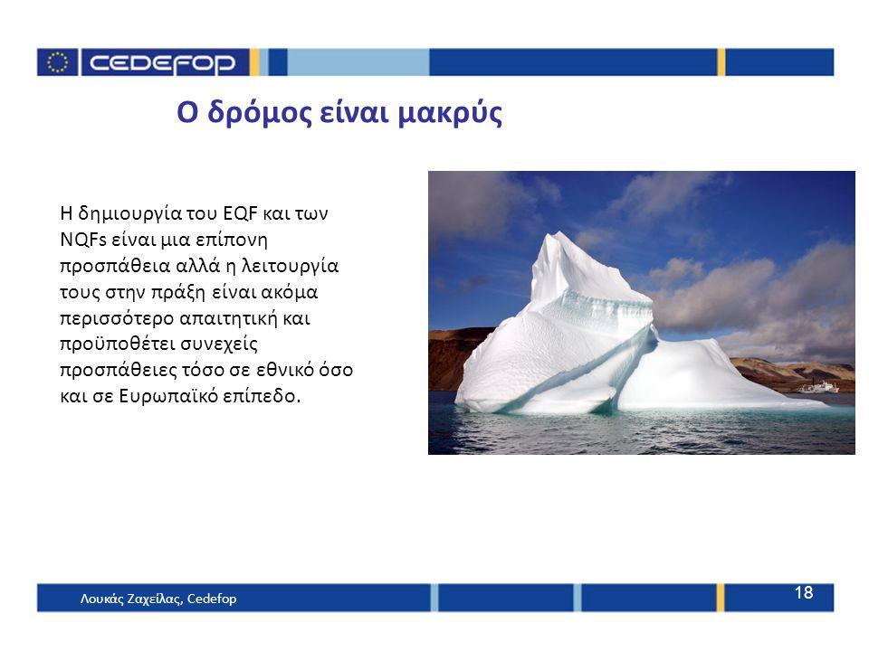 Ο δρόμος είναι μακρύς Λουκάς Ζαχείλας, Cedefop 18 Η δημιουργία του EQF και των NQFs είναι μια επίπονη προσπάθεια αλλά η λειτουργία τους στην πράξη είν