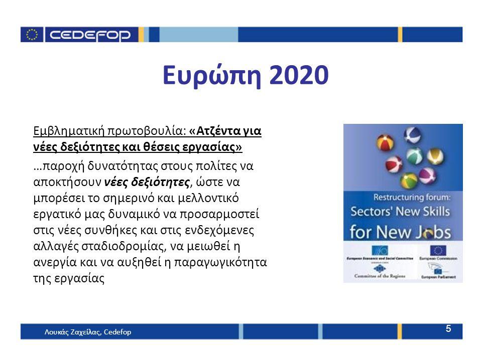 Ευρώπη 2020 Εμβληματική πρωτοβουλία: «Ατζέντα για νέες δεξιότητες και θέσεις εργασίας» …παροχή δυνατότητας στους πολίτες να αποκτήσουν νέες δεξιότητες