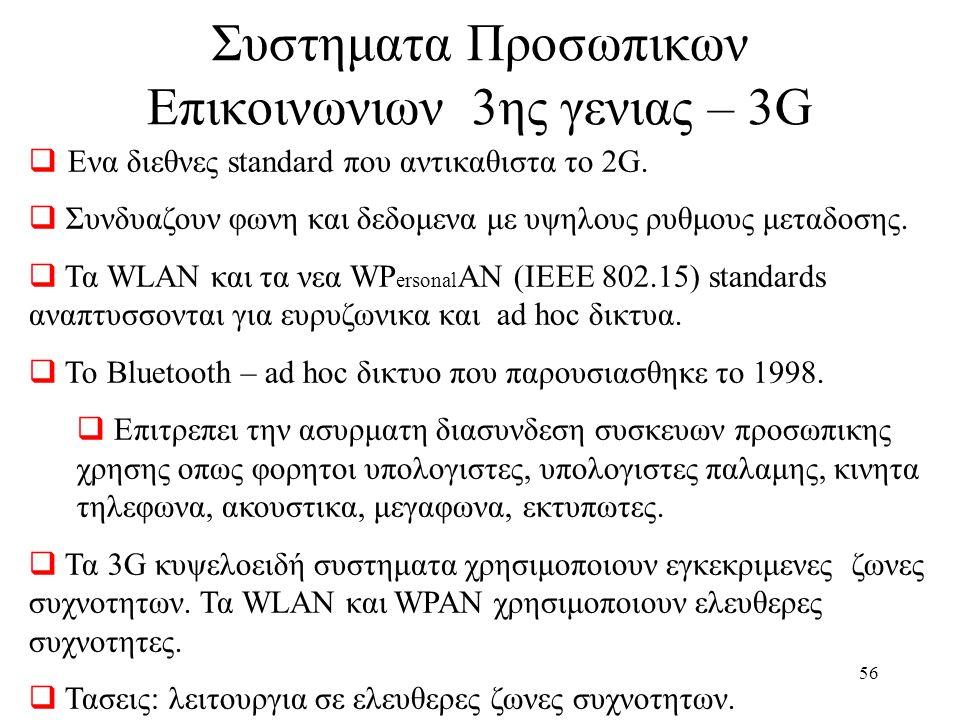 57 1G Ασυρματα συστηματα  Αναλογικα Συστηματα 2G Ασυρματα συστηματα  Ψηφιακα  Υπαρχουν Standard για χωρες ή περιοχες 3G Ασυρματα συστηματα  Ευρυζωνικα (μεχρι 384 kbps)  Μειγμα υπηρεσιων  Ποιοτητα που πλησιαζει εκεινη του σταθερου δικτυου.