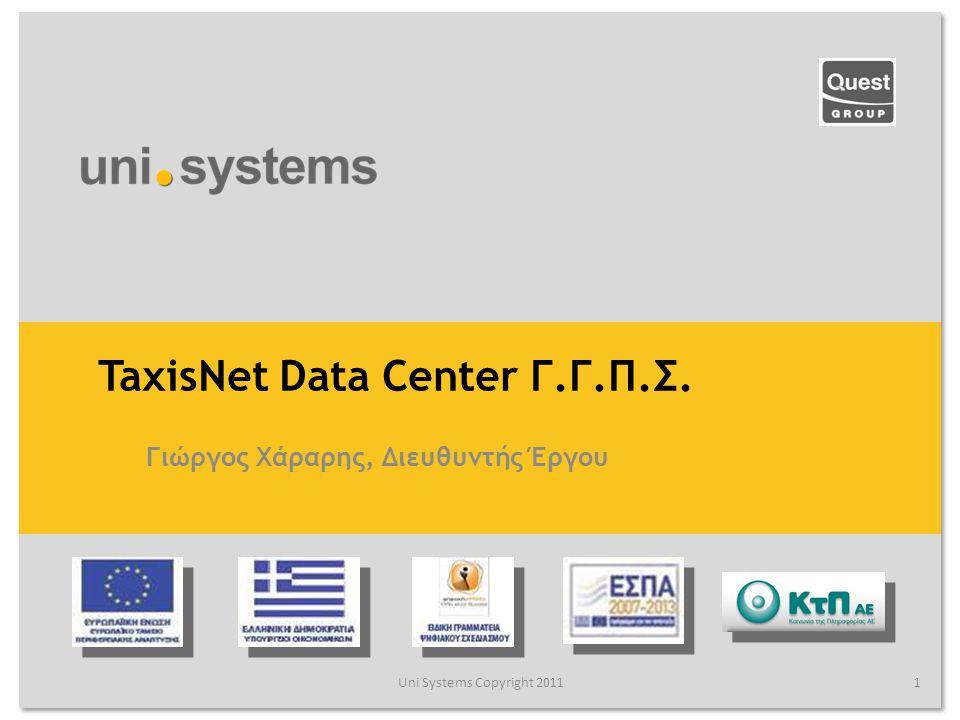 TaxisNet Data Center ΓΓΠΣ Στόχοι του Νέου Δικτύου Uni Systems Copyright 201122 Δημιουργία νέων δικτύων για την υποδοχή των νέων συστημάτων Δημιουργία ζωνών ελεγχόμενης πρόσβασης για τον έλεγχο των ροών μεταξύ των συστημάτων Υλοποίηση κατανομής φορτίου στις ομάδες συστημάτων Προστασία των συστημάτων από κακόβουλες επιθέσεις, τόσο από εσωτερικούς όσο και από εξωτερικούς χρήστες Δυνατότητα επέκτασης του δικτύου για την υποδοχή μελλοντικών συστημάτων και υπηρεσιών Δημιουργία εφεδρικού μηχανογραφικού κέντρου Disaster Site με δυνατότητα παροχής των ίδιων υπηρεσιών με το πρωτεύον.