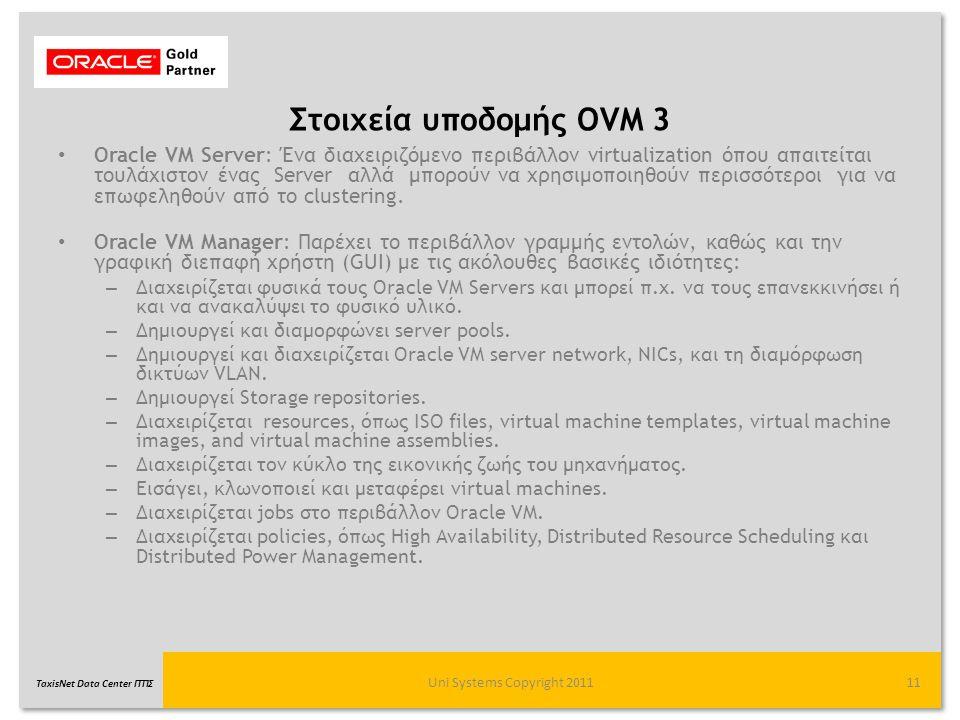 TaxisNet Data Center ΓΓΠΣ Στοιχεία υποδομής OVM 3 Uni Systems Copyright 201111 Oracle VM Server: Ένα διαχειριζόμενο περιβάλλον virtualization όπου απα