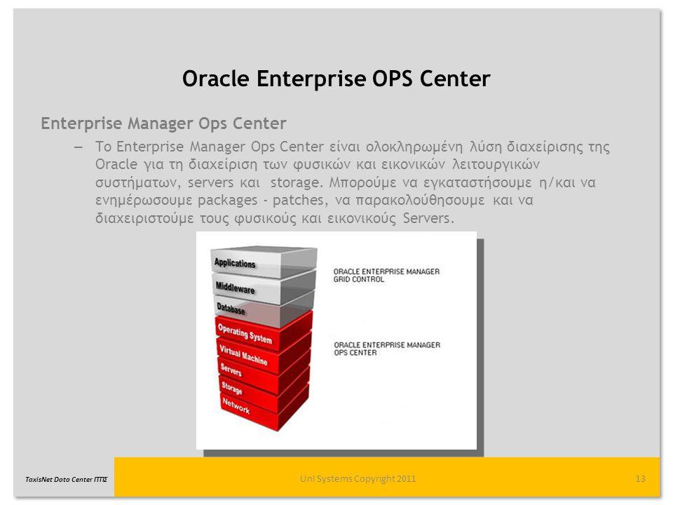 TaxisNet Data Center ΓΓΠΣ Oracle Enterprise OPS Center Uni Systems Copyright 201113 Enterprise Manager Ops Center – Το Enterprise Manager Ops Center ε