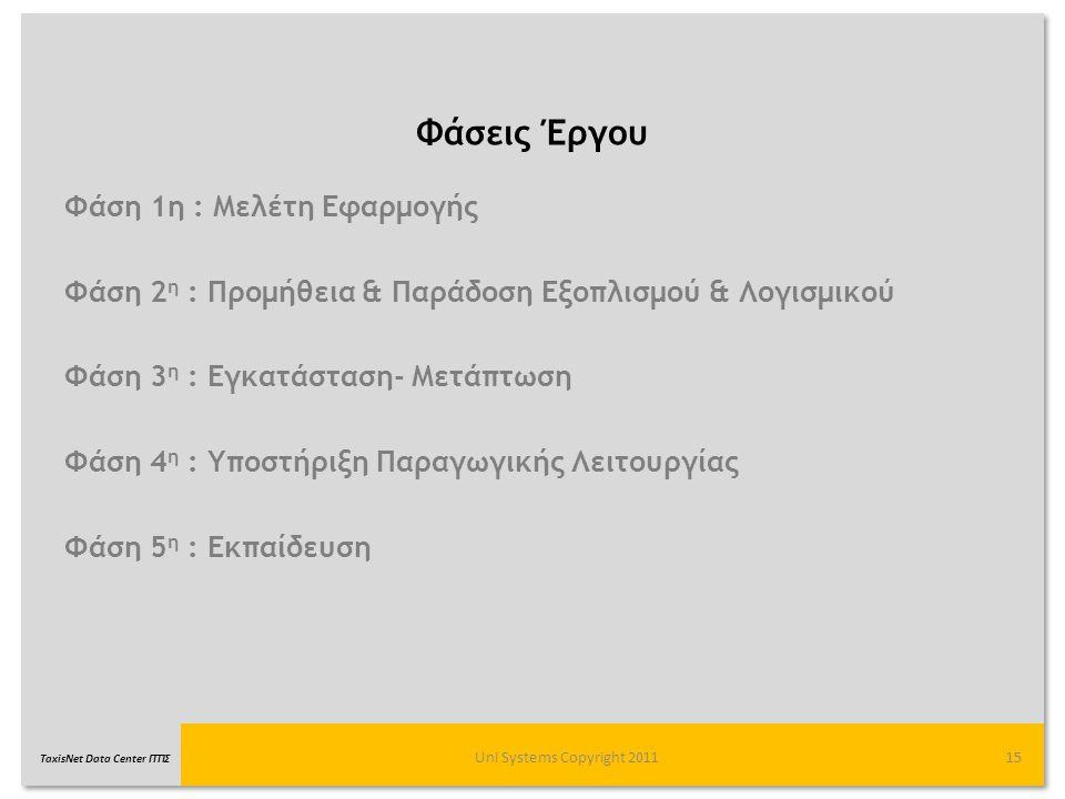 TaxisNet Data Center ΓΓΠΣ Φάσεις Έργου Uni Systems Copyright 201115 Φάση 1η : Μελέτη Εφαρμογής Φάση 2 η : Προμήθεια & Παράδοση Εξοπλισμού & Λογισμικού