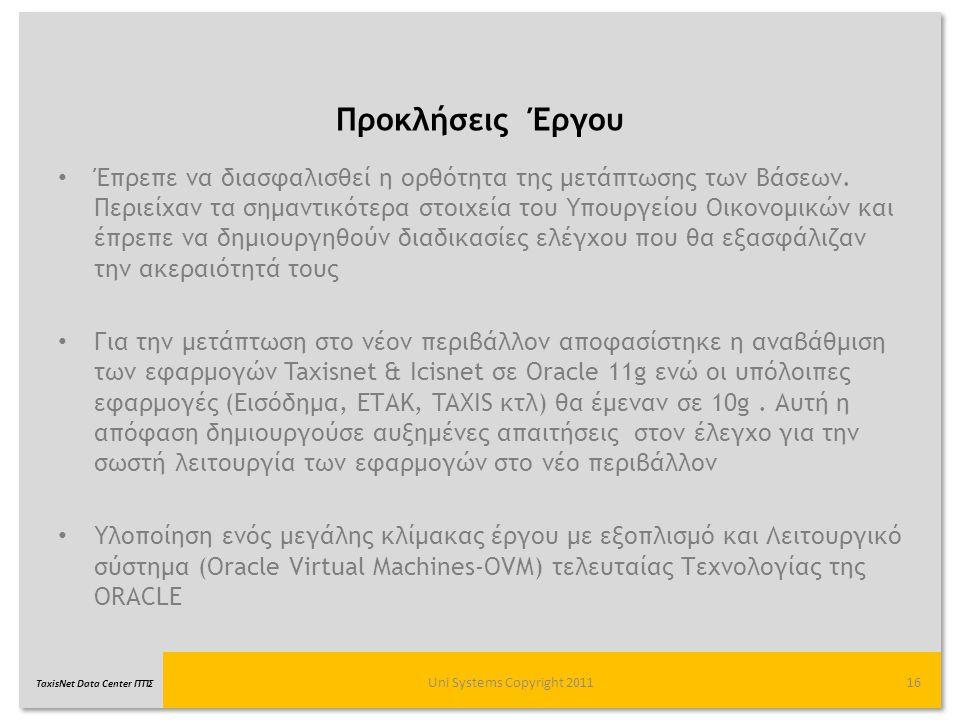 TaxisNet Data Center ΓΓΠΣ Προκλήσεις Έργου Uni Systems Copyright 201116 Έπρεπε να διασφαλισθεί η ορθότητα της μετάπτωσης των Βάσεων. Περιείχαν τα σημα