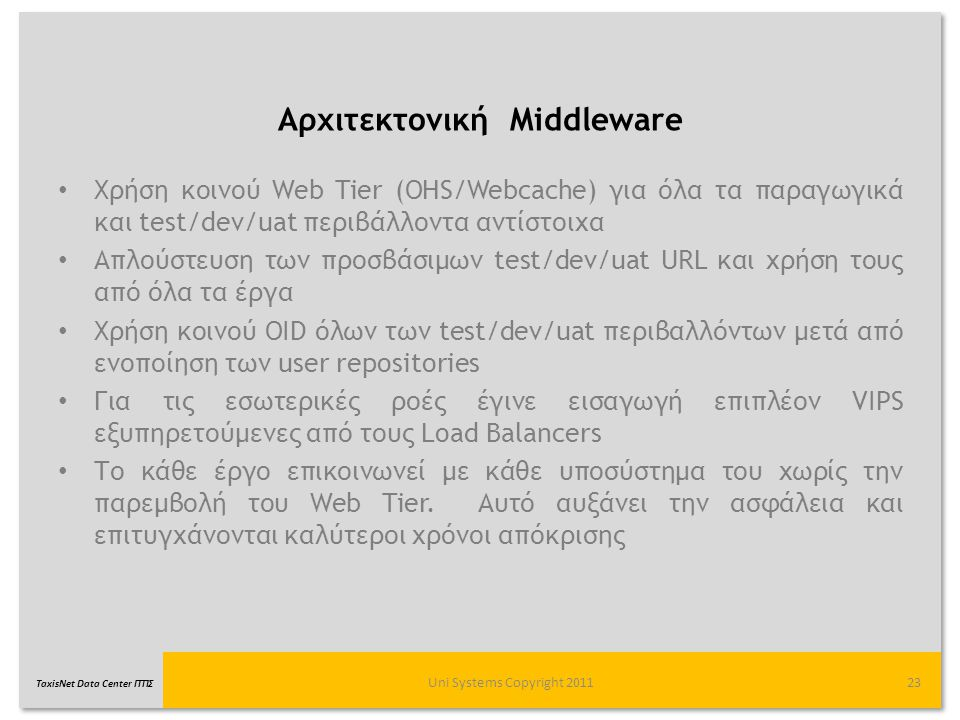 TaxisNet Data Center ΓΓΠΣ Αρχιτεκτονική Middleware Uni Systems Copyright 201123 Χρήση κοινού Web Tier (OHS/Webcache) για όλα τα παραγωγικά και test/de