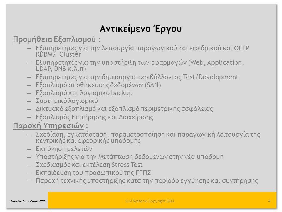 TaxisNet Data Center ΓΓΠΣ Αντικείμενο Έργου Uni Systems Copyright 20114 Προμήθεια Εξοπλισμού : – Εξυπηρετητές για την λειτουργία παραγωγικού και εφεδρ