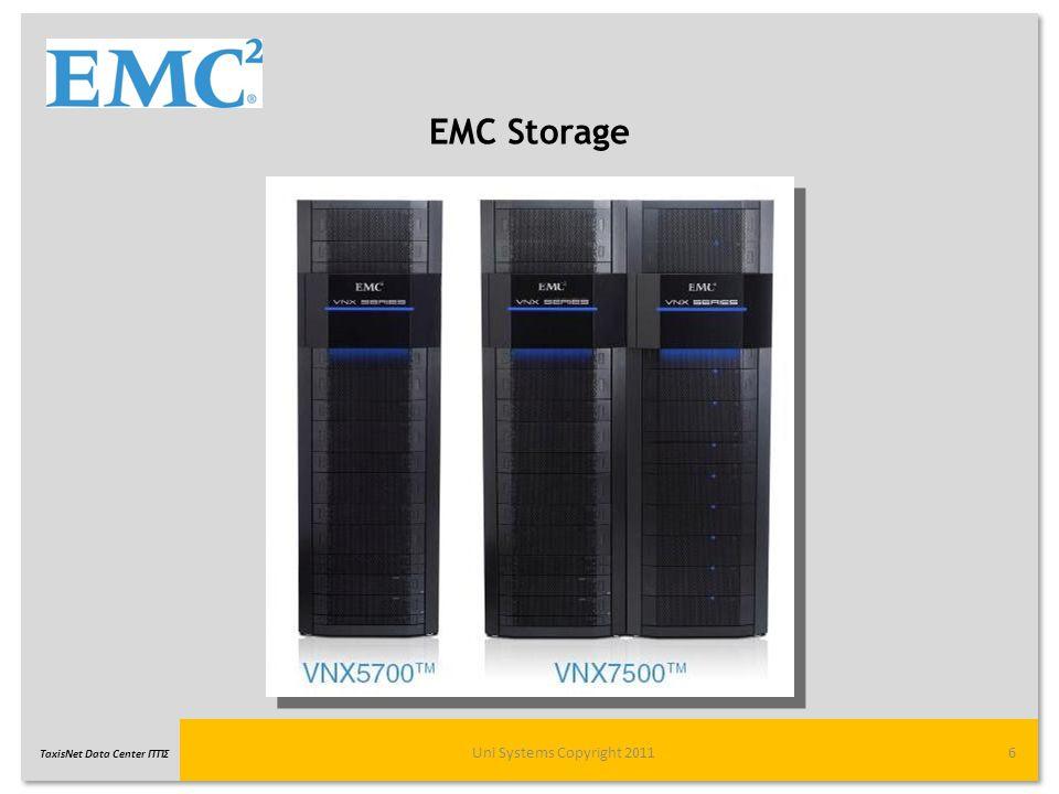 TaxisNet Data Center ΓΓΠΣ EMC Storage Uni Systems Copyright 20117 Storage Κεντρικής Υποδομής -EMC VNX-7500 συνολικής χωρητικότητας 56,9 TB με: -2x High available Storage Processors -8x FC 8GB ports each for Host connections expandable to 32 -48GB μνήμη Storage Εφεδρικής Υποδομής -EMC VNX-5700 συνολικής χωρητικότητας 46,5 TB με: -2x High available Storage Processors -8x FC 8GB ports each for Host connections expandable to 24 -36GB μνήμη