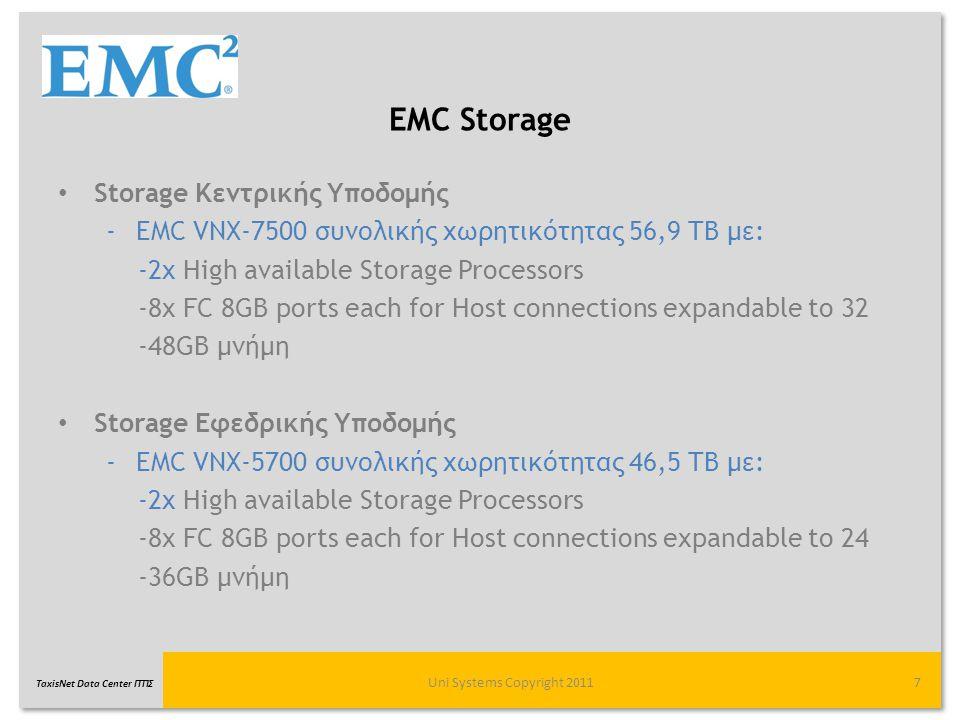TaxisNet Data Center ΓΓΠΣ Λογισμικό διαχείρισης EMC Unisphere Management Suite Κεντρική διαχείριση, διαμόρφωση και παρακολούθηση των VNX συστημάτων, μέσω ενός γραφικού (GUI) web-browser περιβάλλοντος διαχείρισης καθώς και μέσω εντολών (CLI).