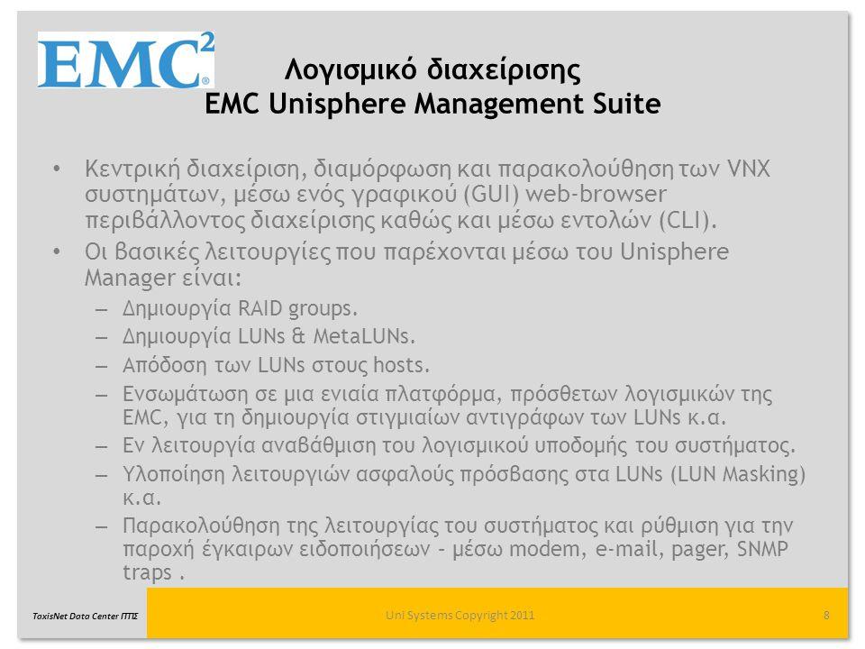 TaxisNet Data Center ΓΓΠΣ Λογισμικό διαχείρισης EMC Unisphere Management Suite Κεντρική διαχείριση, διαμόρφωση και παρακολούθηση των VNX συστημάτων, μ