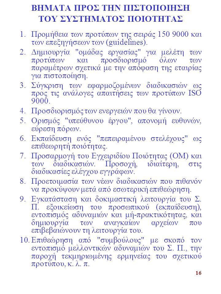 16 ΒΗΜΑΤΑ ΠΡΟΣ ΤΗΝ ΠΙΣΤΟΠΟΙΗΣΗ ΤΟΥ ΣΥΣΤΗΜΑΤΟΣ ΠΟΙΟΤΗΤΑΣ 1.Προμήθεια των προτύπων της σειράς 150 9000 και των επεξηγήσεων των (guidelines). 2.Δημιουργί