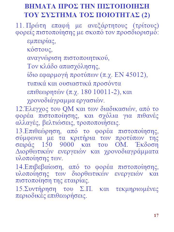 17 ΒΗΜΑΤΑ ΠΡΟΣ ΤΗΝ ΠΙΣΤΟΠΟΙΗΣΗ ΤΟΥ ΣΥΣΤΗΜΑ ΤΟΣ ΠΟΙΟΤΗΤΑΣ (2) 11. Πρώτη επαφή με ανεξάρτητους (τρίτους) φορείς πιστοποίησης με σκοπό τον προσδιορισμό: