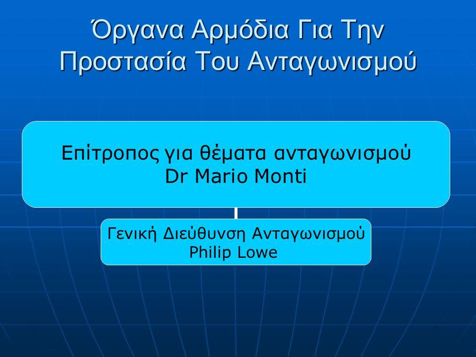 Όργανα Αρμόδια Για Την Προστασία Του Ανταγωνισμού Επίτροπος για θέματα ανταγωνισμού Dr Μario Monti Γενική Διεύθυνση Ανταγωνισμού Philip Lowe