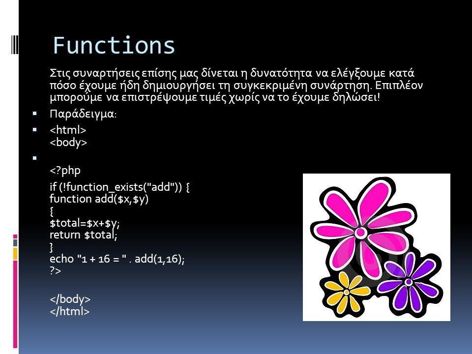 Functions Στις συναρτήσεις επίσης μας δίνεται η δυνατότητα να ελέγξουμε κατά πόσο έχουμε ήδη δημιουργήσει τη συγκεκριμένη συνάρτηση.