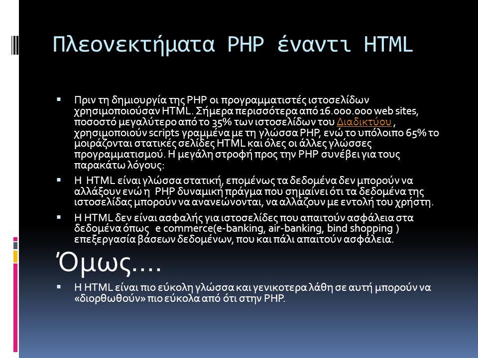 Πλεονεκτήματα PHP έναντι HTML  Πριν τη δημιουργία της PHP οι προγραμματιστές ιστοσελίδων χρησιμοποιούσαν HTML.