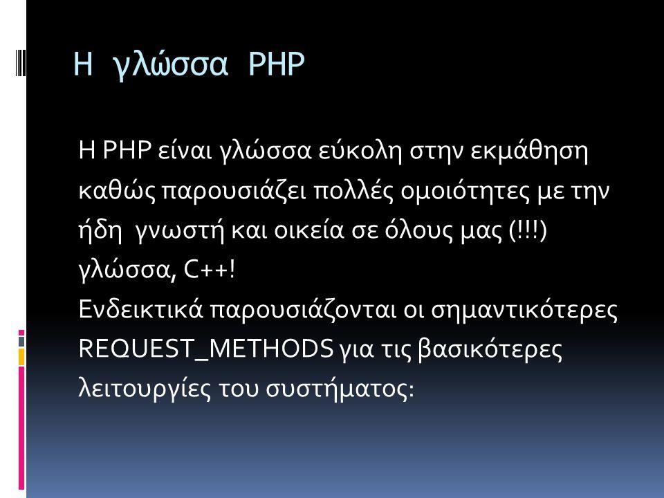 Μέθοδος Get: Με την πιο πάνω υλοποίηση ο επισκέπτης που θα ανοίξει τη σελίδα με τη μορφή page.php?id=1 θα δει το κείμενο Κείμενο 1 .