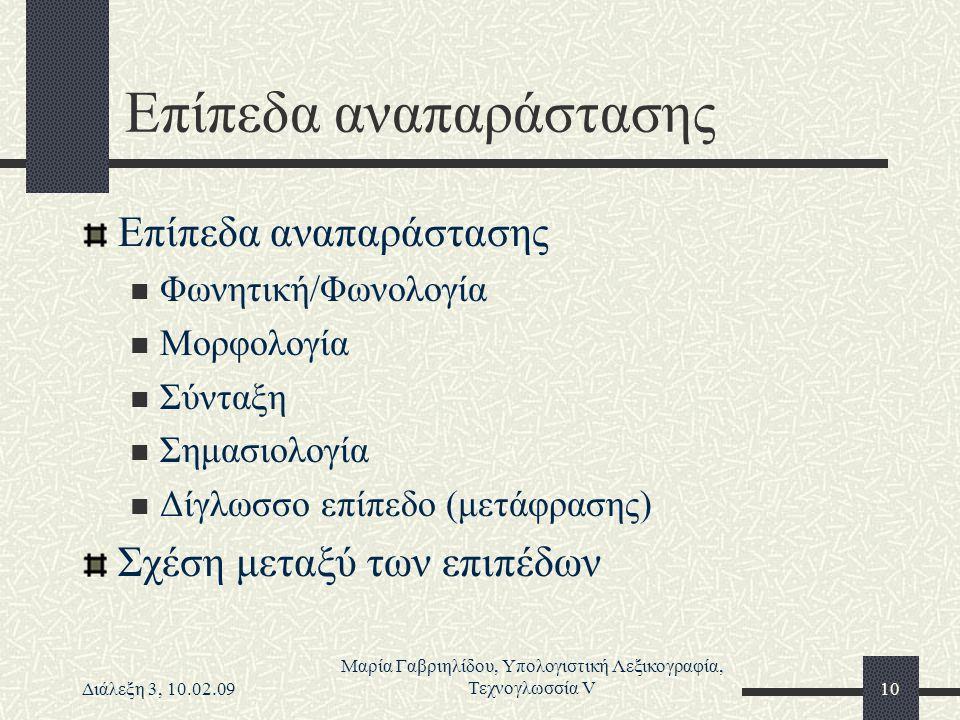 Διάλεξη 3, 10.02.09 Μαρία Γαβριηλίδου, Υπολογιστική Λεξικογραφία, Τεχνογλωσσία V10 Επίπεδα αναπαράστασης Φωνητική/Φωνολογία Μορφολογία Σύνταξη Σημασιο