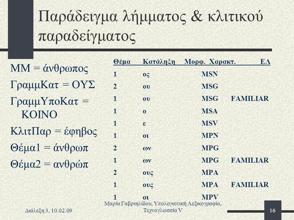 Διάλεξη 3, 10.02.09 Μαρία Γαβριηλίδου, Υπολογιστική Λεξικογραφία, Τεχνογλωσσία V16 Παράδειγμα λήμματος & κλιτικού παραδείγματος ΜΜ = άνθρωπος ΓραμμΚατ