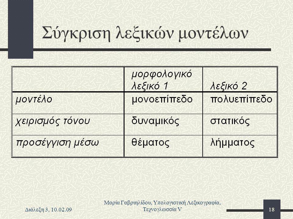 Διάλεξη 3, 10.02.09 Μαρία Γαβριηλίδου, Υπολογιστική Λεξικογραφία, Τεχνογλωσσία V18 Σύγκριση λεξικών μοντέλων