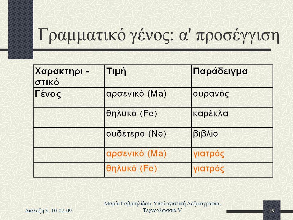 Διάλεξη 3, 10.02.09 Μαρία Γαβριηλίδου, Υπολογιστική Λεξικογραφία, Τεχνογλωσσία V19 Γραμματικό γένος: α' προσέγγιση