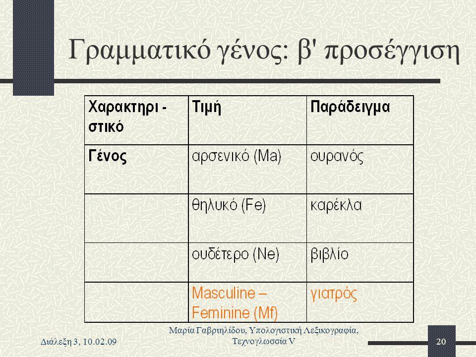 Διάλεξη 3, 10.02.09 Μαρία Γαβριηλίδου, Υπολογιστική Λεξικογραφία, Τεχνογλωσσία V20 Γραμματικό γένος: β' προσέγγιση