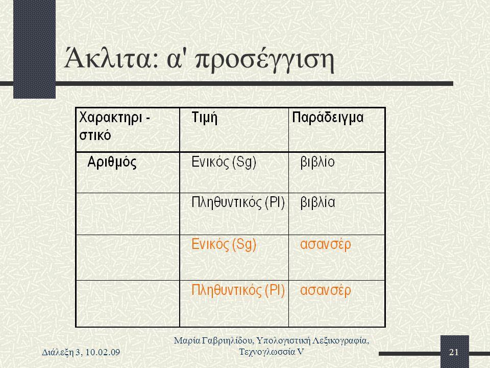 Διάλεξη 3, 10.02.09 Μαρία Γαβριηλίδου, Υπολογιστική Λεξικογραφία, Τεχνογλωσσία V21 Άκλιτα: α' προσέγγιση