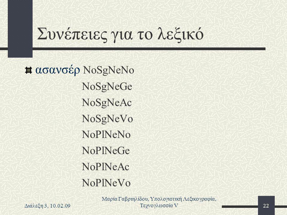 Διάλεξη 3, 10.02.09 Μαρία Γαβριηλίδου, Υπολογιστική Λεξικογραφία, Τεχνογλωσσία V22 Συνέπειες για το λεξικό ασανσέρ NoSgNeNo NoSgNeGe NoSgNeAc NoSgNeVo