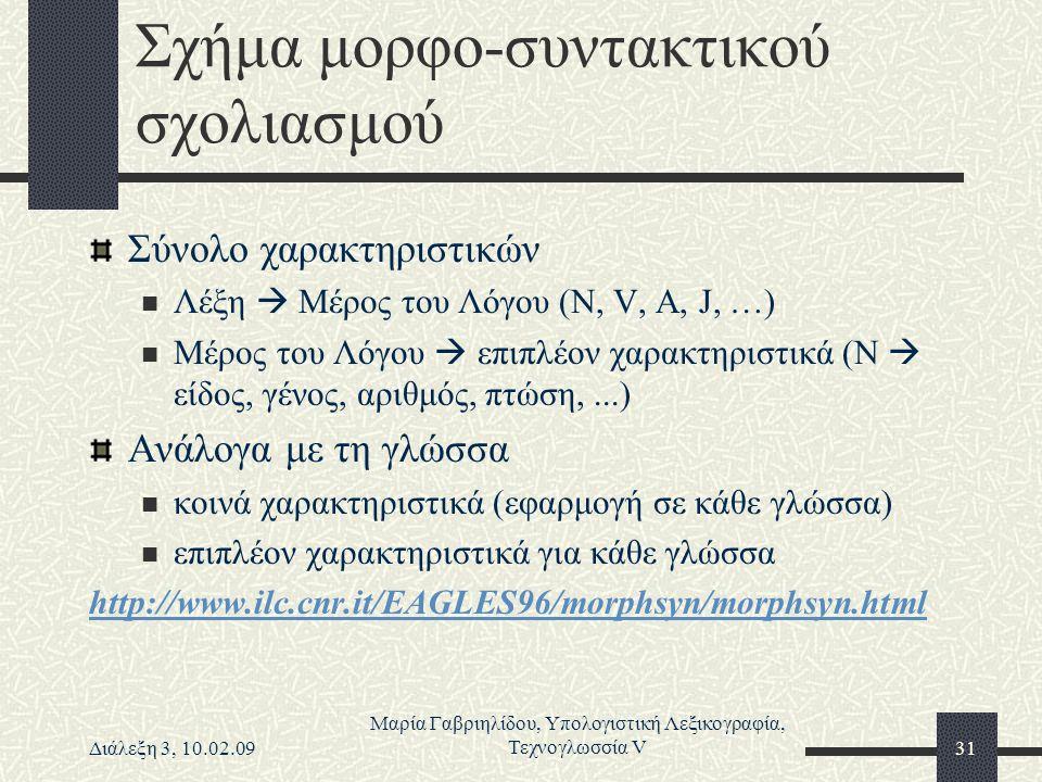 Διάλεξη 3, 10.02.09 Μαρία Γαβριηλίδου, Υπολογιστική Λεξικογραφία, Τεχνογλωσσία V31 Σχήμα μορφο-συντακτικού σχολιασμού Σύνολο χαρακτηριστικών Λέξη  Μέ