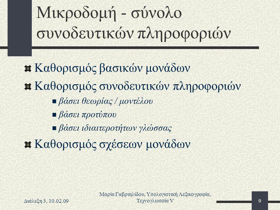 Διάλεξη 3, 10.02.09 Μαρία Γαβριηλίδου, Υπολογιστική Λεξικογραφία, Τεχνογλωσσία V9 Μικροδομή - σύνολο συνοδευτικών πληροφοριών Καθορισμός βασικών μονάδ