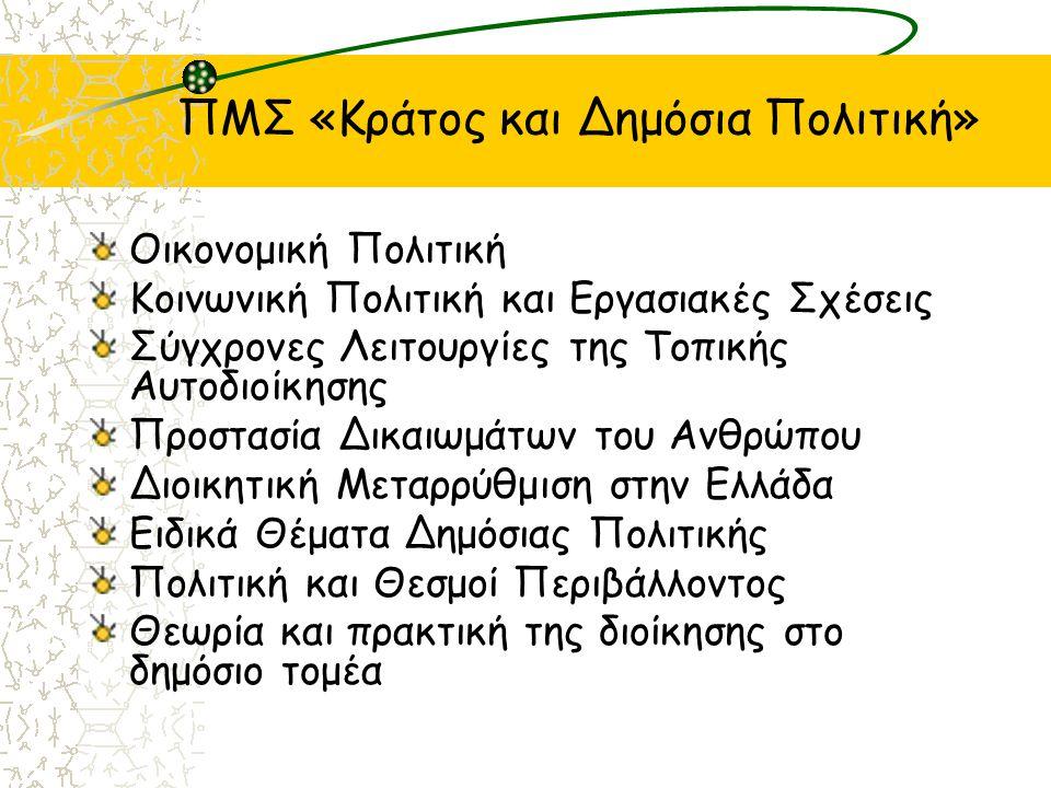 ΠΜΣ «Κράτος και Δημόσια Πολιτική» Οικονομική Πολιτική Κοινωνική Πολιτική και Εργασιακές Σχέσεις Σύγχρονες Λειτουργίες της Τοπικής Αυτοδιοίκησης Προστασία Δικαιωμάτων του Ανθρώπου Διοικητική Μεταρρύθμιση στην Ελλάδα Ειδικά Θέματα Δημόσιας Πολιτικής Πολιτική και Θεσμοί Περιβάλλοντος Θεωρία και πρακτική της διοίκησης στο δημόσιο τομέα