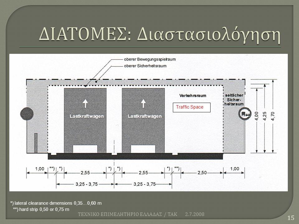2.7.2008 ΤΕΧΝΙΚΟ ΕΠΙΜΕΛΗΤΗΡΙΟ ΕΛΛΑΔΑΣ / ΤΑΚ 15 Traffic Space *) lateral clearance dιmensions 0,35…0,60 m **) hard strip 0,50 or 0,75 m