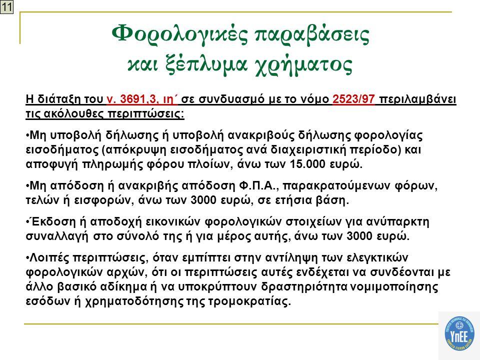 Φορολογικές παραβάσεις και ξέπλυμα χρήματος Η διάταξη του ν.