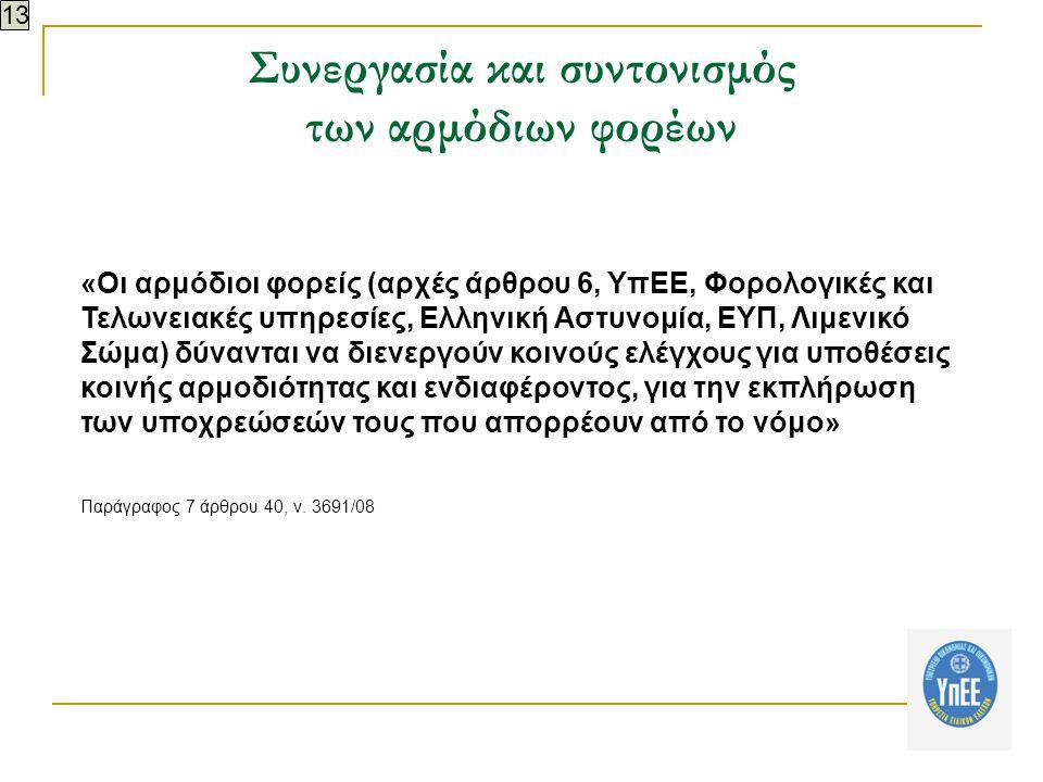 Συνεργασία και συντονισμός των αρμόδιων φορέων «Οι αρμόδιοι φορείς (αρχές άρθρου 6, ΥπΕΕ, Φορολογικές και Τελωνειακές υπηρεσίες, Ελληνική Αστυνομία, ΕΥΠ, Λιμενικό Σώμα) δύνανται να διενεργούν κοινούς ελέγχους για υποθέσεις κοινής αρμοδιότητας και ενδιαφέροντος, για την εκπλήρωση των υποχρεώσεών τους που απορρέουν από το νόμο» Παράγραφος 7 άρθρου 40, ν.