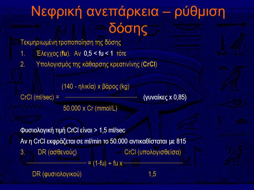 Νεφρική ανεπάρκεια – ρύθμιση δόσης Τεκμηριωμένη τροποποίηση της δόσης 1. Έλεγχος ( fu ). Αν 0,5 < fu < 1 τότε 2. Υπολογισμός της κάθαρσης κρεατινίνης