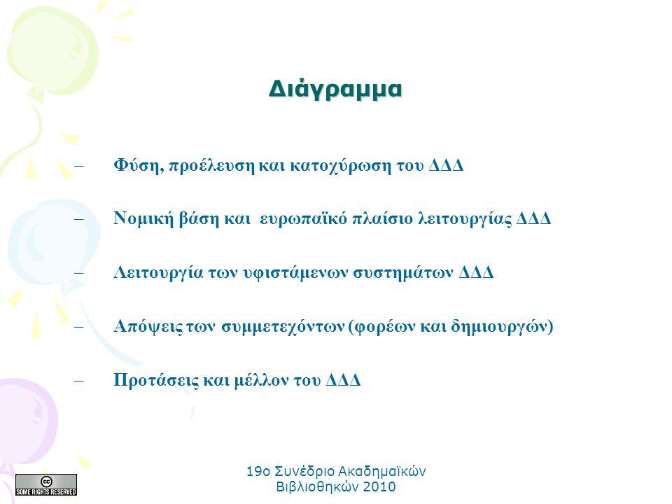 19o Συνέδριο Ακαδημαϊκών Βιβλιοθηκών 2010 Διάγραμμα –Φύση, προέλευση και κατοχύρωση του ΔΔΔ –Νομική βάση και ευρωπαϊκό πλαίσιο λειτουργίας ΔΔΔ –Λειτουργία των υφιστάμενων συστημάτων ΔΔΔ –Απόψεις των συμμετεχόντων (φορέων και δημιουργών) –Προτάσεις και μέλλον του ΔΔΔ