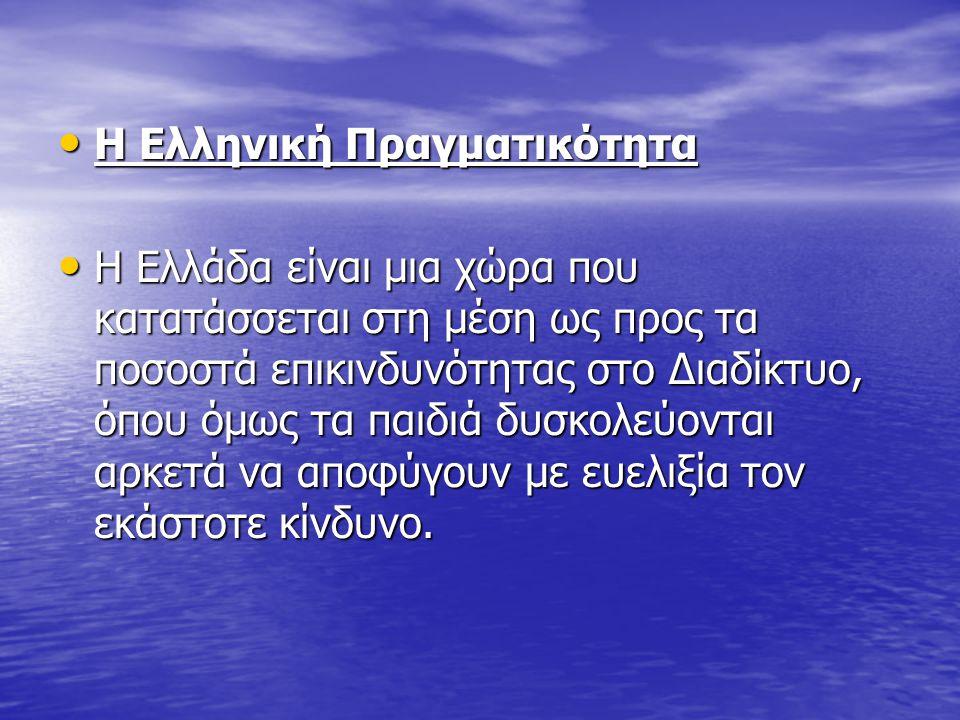 Η Ελληνική Πραγματικότητα Η Ελληνική Πραγματικότητα Η Ελλάδα είναι μια χώρα που κατατάσσεται στη μέση ως προς τα ποσοστά επικινδυνότητας στο Διαδίκτυο, όπου όμως τα παιδιά δυσκολεύονται αρκετά να αποφύγουν με ευελιξία τον εκάστοτε κίνδυνο.
