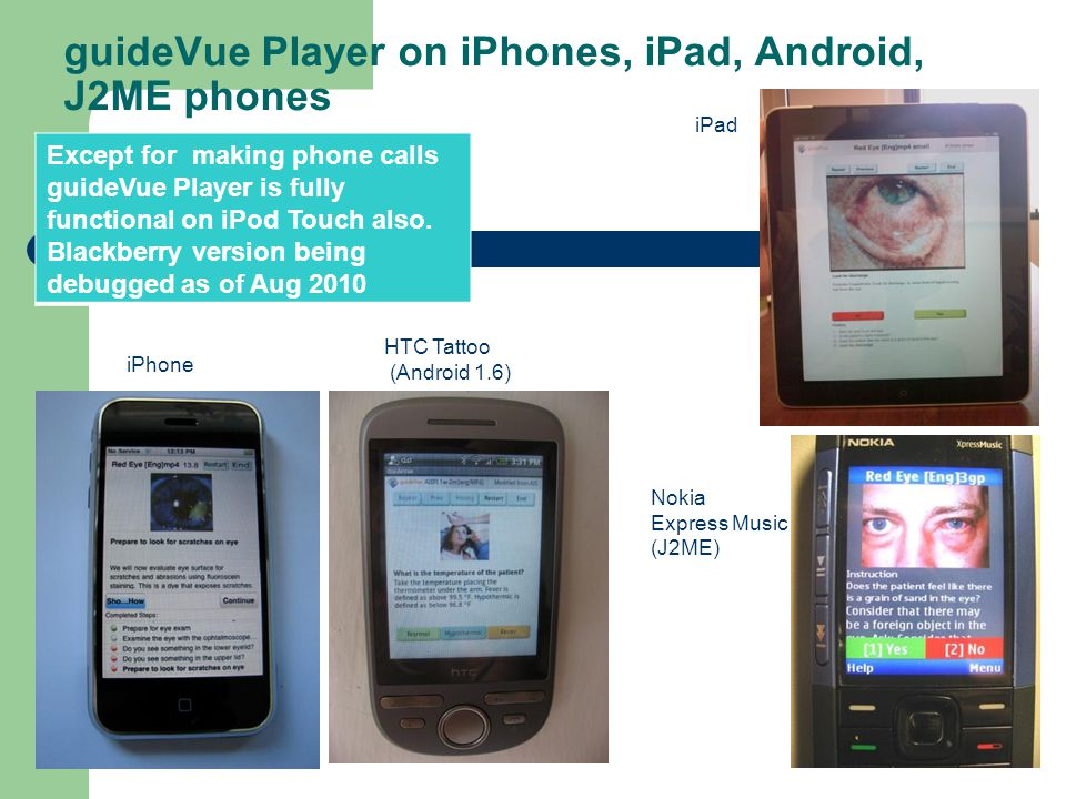 guideVue Player – Executes guideviews on mobile devices: cell phones and PDAs Displays the guidelines step by step. Does not need access to cell netwo