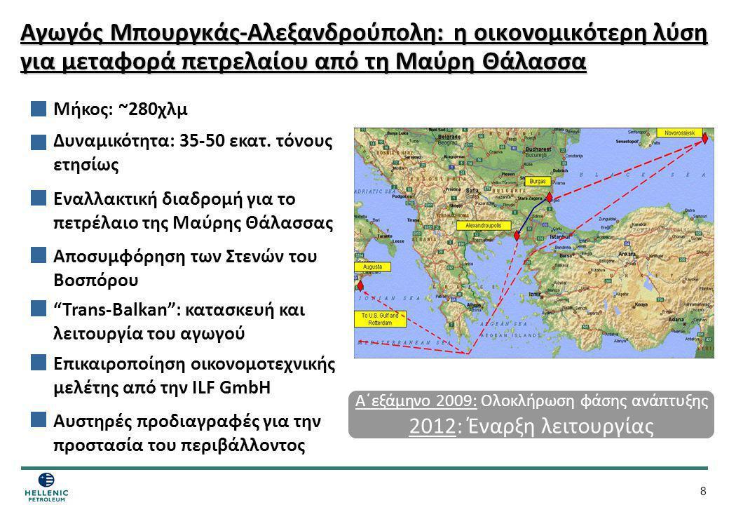 8 Αγωγός Μπουργκάς-Αλεξανδρούπολη: η οικονομικότερη λύση για μεταφορά πετρελαίου από τη Μαύρη Θάλασσα Μήκος: ~280χλμ Εναλλακτική διαδρομή για το πετρέ
