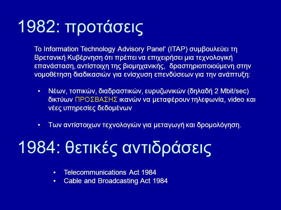1982: προτάσεις To Information Technology Advisory Panel' (ITAP) συμβουλεύει τη Βρετανική Κυβέρνηση ότι πρέπει να επιχειρήσει μια τεχνολογική επανάσταση, αντίστοιχη της βιομηχανικής, δραστηριοποιούμενη στην νομοθέτηση διαδικασιών για ενίσχυση επενδύσεων για την ανάπτυξη: Νέων, τοπικών, διαδραστικών, ευρυζωνικών (δηλαδή 2 Mbit/sec) δικτύων ΠΡΟΣΒΑΣΗΣ ικανών να μεταφέρουν τηλεφωνία, video και νέες υπηρεσίες δεδομένων Των αντίστοιχων τεχνολογιών για μεταγωγή και δρομολόγηση.
