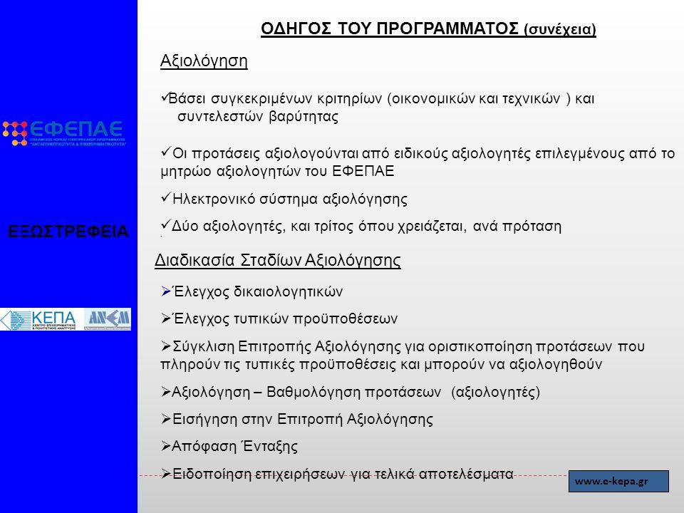 Αξιολόγηση Βάσει συγκεκριμένων κριτηρίων (οικονομικών και τεχνικών ) και συντελεστών βαρύτητας Οι προτάσεις αξιολογούνται από ειδικούς αξιολογητές επιλεγμένους από το μητρώο αξιολογητών του ΕΦΕΠΑΕ Ηλεκτρονικό σύστημα αξιολόγησης Δύο αξιολογητές, και τρίτος όπου χρειάζεται, ανά πρόταση ` Διαδικασία Σταδίων Αξιολόγησης  Έλεγχος δικαιολογητικών  Έλεγχος τυπικών προϋποθέσεων  Σύγκλιση Επιτροπής Αξιολόγησης για οριστικοποίηση προτάσεων που πληρούν τις τυπικές προϋποθέσεις και μπορούν να αξιολογηθούν  Αξιολόγηση – Βαθμολόγηση προτάσεων (αξιολογητές)  Εισήγηση στην Επιτροπή Αξιολόγησης  Απόφαση Ένταξης  Ειδοποίηση επιχειρήσεων για τελικά αποτελέσματα ΕΞΩΣΤΡΕΦΕΙΑ ΟΔΗΓΟΣ ΤΟΥ ΠΡΟΓΡΑΜΜΑΤΟΣ (συνέχεια) www.e-kepa.gr
