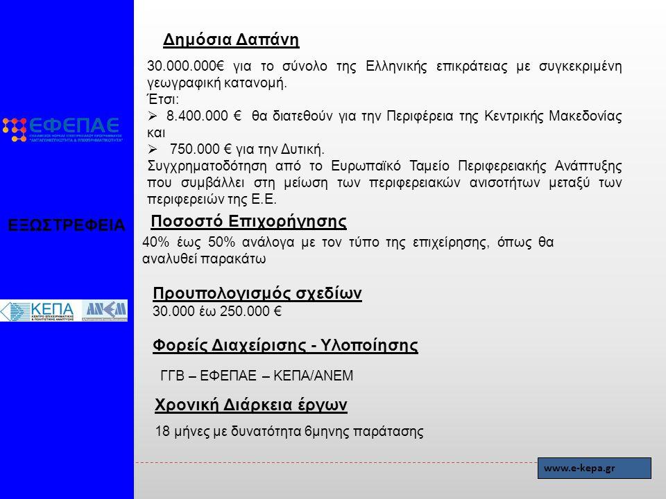 Δημόσια Δαπάνη 30.000.000€ για το σύνολο της Ελληνικής επικράτειας με συγκεκριμένη γεωγραφική κατανομή.