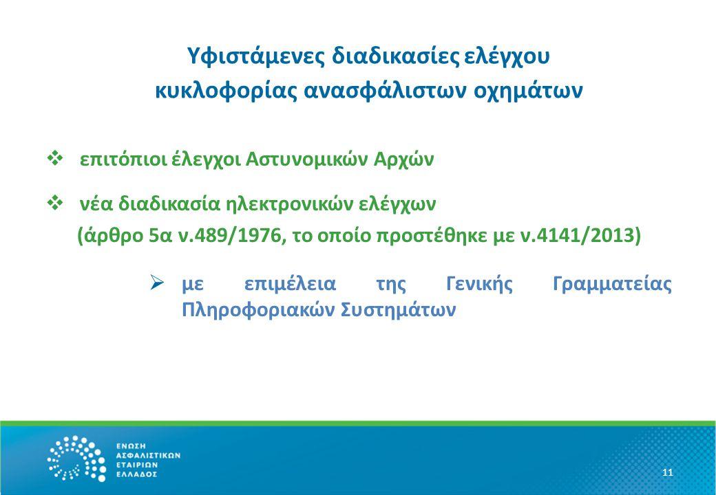 Υφιστάμενες διαδικασίες ελέγχου κυκλοφορίας ανασφάλιστων οχημάτων  επιτόπιοι έλεγχοι Αστυνομικών Αρχών  νέα διαδικασία ηλεκτρονικών ελέγχων (άρθρο 5α ν.489/1976, το οποίο προστέθηκε με ν.4141/2013)  με επιμέλεια της Γενικής Γραμματείας Πληροφοριακών Συστημάτων 11