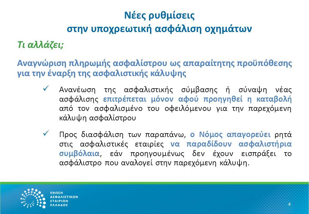 Νέες ρυθμίσεις στην υποχρεωτική ασφάλιση οχημάτων Τι αλλάζει; Αποδεικτικό της σύμβασης ασφάλισης έγγραφο θα είναι εφεξής :  το ασφαλιστήριο  και πριν την παράδοση του ασφαλιστηρίου, η απόδειξη πληρωμής του ασφαλίστρου σε συνδυασμό με σχετικό έγγραφο της ασφαλιστικής εταιρίας (για το διάστημα των 5 πρώτων ημερών της κάλυψης)  καταργείται το αυτοκόλλητο σήμα ασφάλισης  καταργείται η προσωρινή ασφάλιση 5